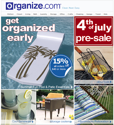 ad for organize.com - showing hammocks, grill baskets and other items