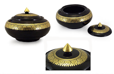 Thai lcquer jar, black with gold, 3 views