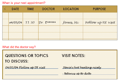 medical organizer - part of pages used for tracking appointments