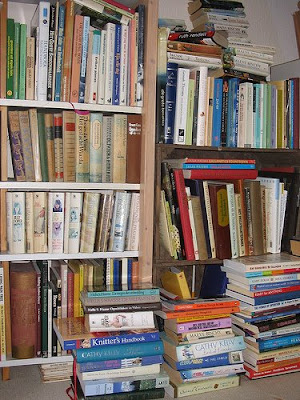 overflowing bookcases