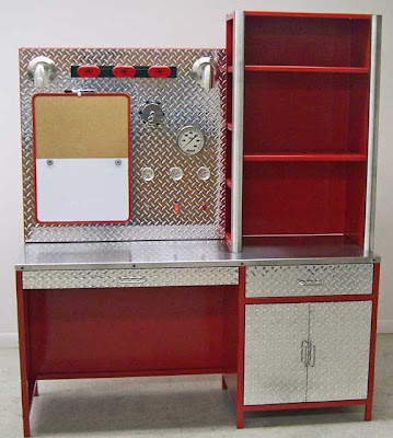 fire-engine themed desk, with hutch