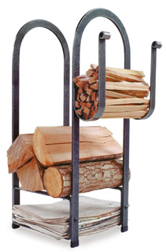 hammered steel log rack with places for kindling and newspaper as well as logs