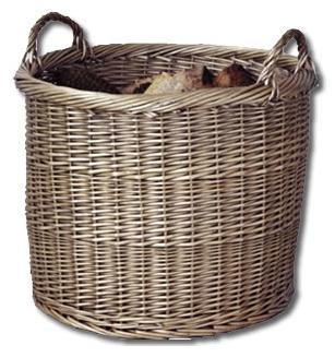 log basket, filled with wood