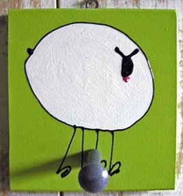 single-peg coat hook with picture of a sheep