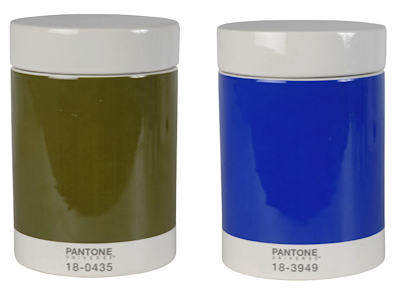 canisters in olive and blue