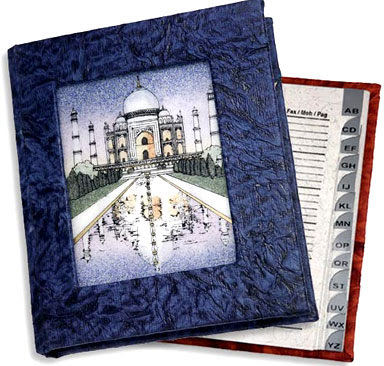 address book with picture of the Taj Mahal