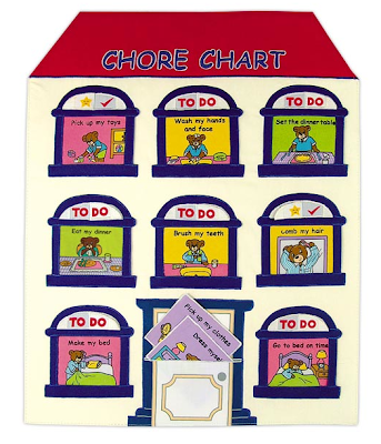 chore chart shaped like a house; chores are in the windows
