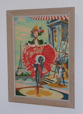 paint-by-numbers painting of can-can dancer in Paris