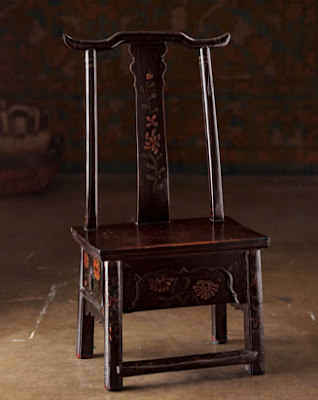 chair with drawer, dark wood