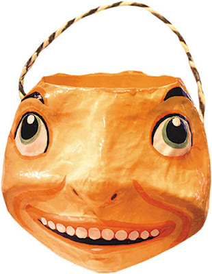 pumpkin shaped paper mache candy container