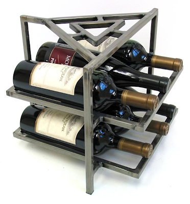 steel wine rack for six bottles