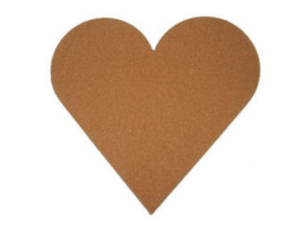 cork bulletin board, heart shaped