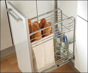 huche à pain - baguette bin built into kitchen cabinet