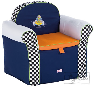 child-size armchair with toy storage