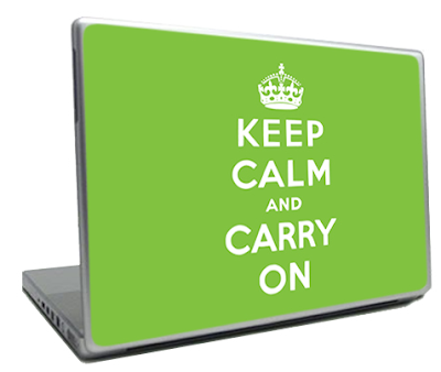 Keep Calm and Carry On laptop skin from Schtickers