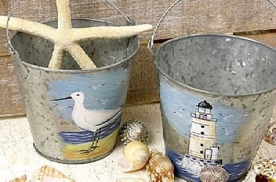 nautical themed buckets with seagull and lighthouse