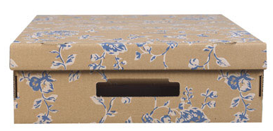 cardboard underbed storage box, floral