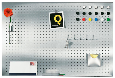 perforated magnetic board, pegboard style