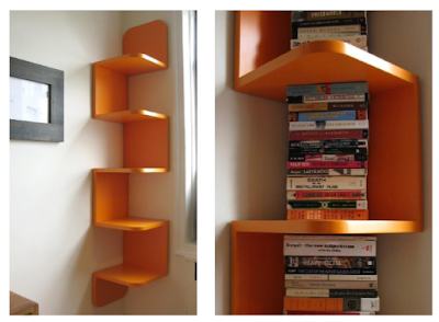 orange wall shelf, with books