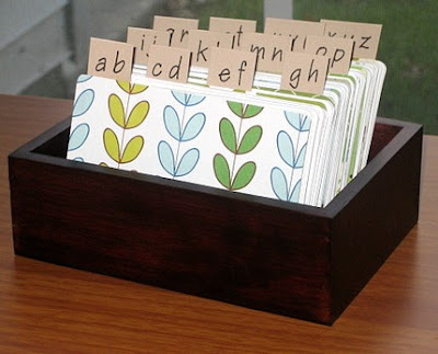 address card file box