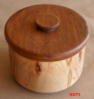 round wood box, pecan