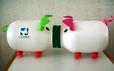 piggy bank made from recycled materials
