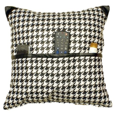 pillow with pockets for remotes; houndstooth fabric