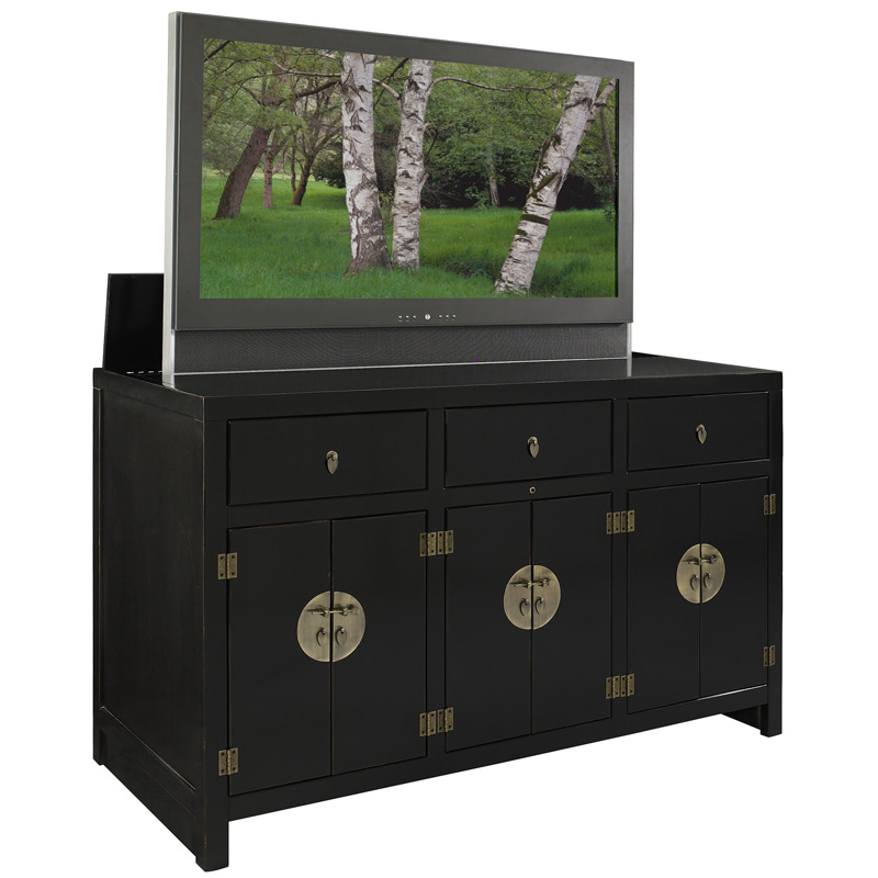 Jeri s organizing decluttering news tv lifts hide your for Tv cabinets hidden flat screens