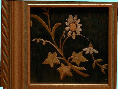 needlepoint flowers, framed