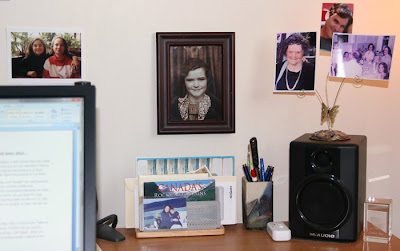deskm with pictures of Aunt Kay