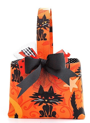 Halloween basket, fabric - orange with black cat