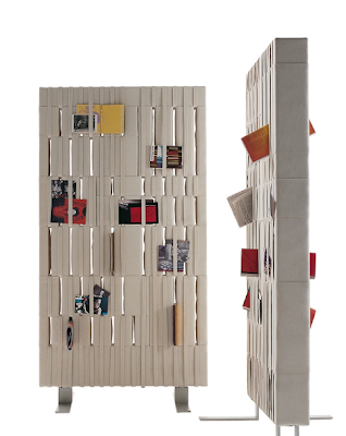 room divider, felt-covered, with straps to hold papers, magazines, etc.