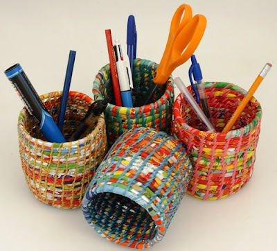 pencil cups, colorful, made from recycled plastic
