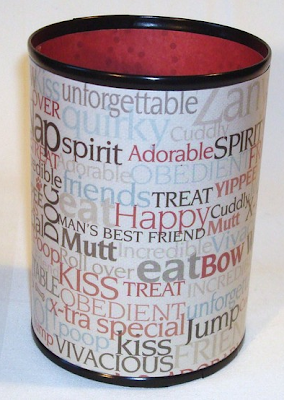 pencil can with words such as obedient,kiss, mutt, and man's best friend