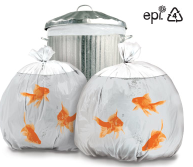 garbage bags with goldfish