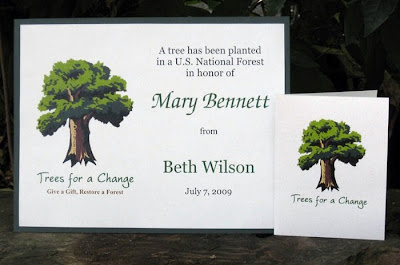 Trees for a Change donation certificate