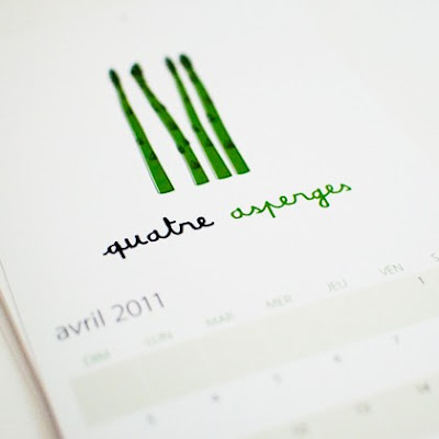 Calendar, April 2-11, quatre asperges