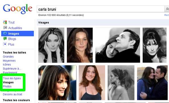 portrait de carla bruni sur google