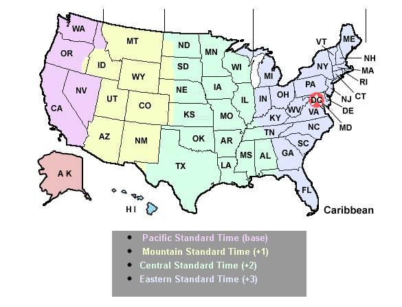 fuseaux horaires aux USA