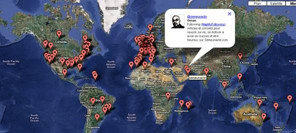 geolocalisation des abonnés twitter