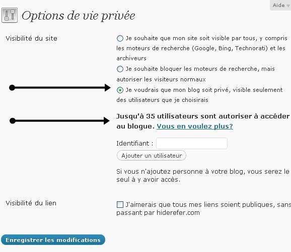 wordpress vie privée