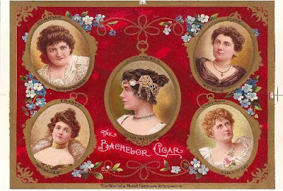 This proof print of the Bachelor Cigars label honors five famous actresses of the late 19th century: America's Julia Marlowe (center), surrounded by, clockwise from top left — Germany's Agnes Sorma, Italy's Eleonora Duse, England's Ellen Terry, and France's Gabrielle Rejane