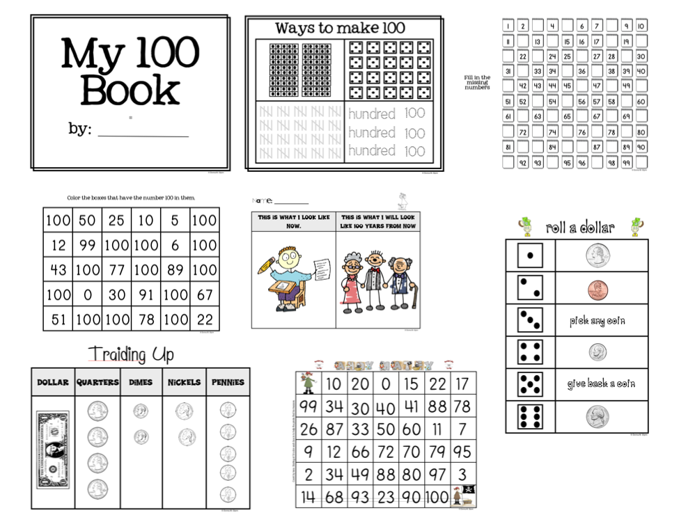 math worksheet : 100 day activities for kindergarten related keywords  suggestions  : 100th Day Math Worksheets