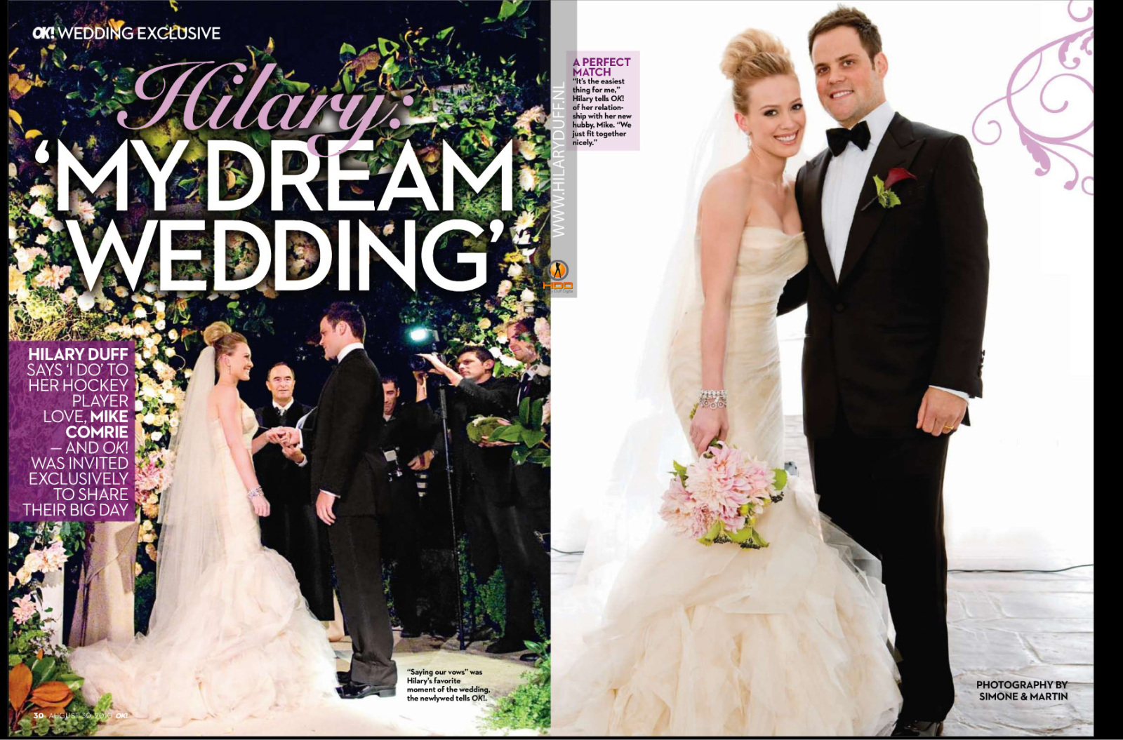 mike comrie she wore a stunning mermaid style vera wang dress that    Hilary Duff Wedding Photos
