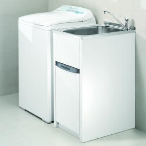 Compact Laundry Unit 380 X 606 X 873mm (232mm Deep Tub) Laundry Tub U0026  Cabinet 2 Taphole With Single By Pass 18/10 Polished S/Steel Tub