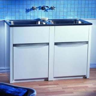 Merveilleux Double Laundry Unit 1248 X 499 X 873mm (265mm Deep Tubs) Laundry Tub U0026  Cabinet 2 Taphole Single By Pass 18/10 Polished S/Steel Tub Metal  Permacoat® Cabinet