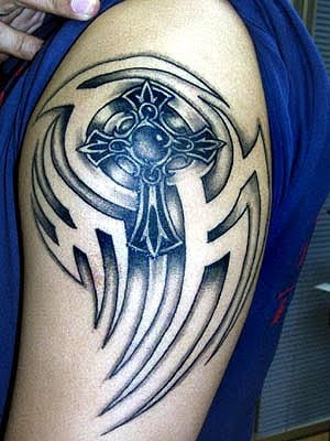 tribal celtic cross tattoo designs shoulder
