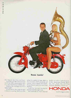 Honda motorscooter ad - woman with sousaphone