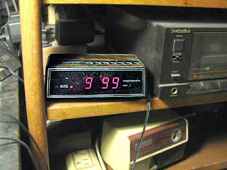 Sick Old Clock with electric pencil sharpener and cassette dubbing deck