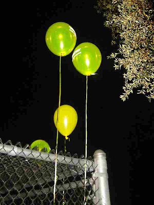 Balloons at night attached to a locked cage around an attractive nuisance (water pipes) at a local high school